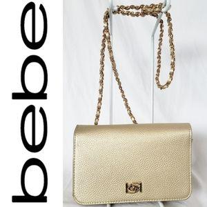 Bebe Gold Crossbody w/ Backward B's
